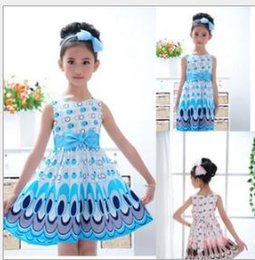 Wholesale Kids Girls Dress cute peacock color sleeveless princess dress circle Korean Fashion children s New clothes for ages girls