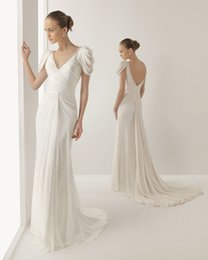 Wholesale 2015 Grecian Style Wedding Dresses Cheap Beaded V Neck A Line Ruched Sweep Train Bridal Gowns With White Chiffon Backless Sweep Train Wq06
