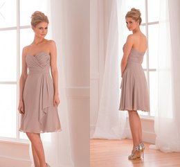 Wholesale In Stock New Short Bridesmaid Dresses Sexy Backless Sweetheart Pleats Ruffles Grey Color Sexy Backless Sweetheart Formal Party Dress