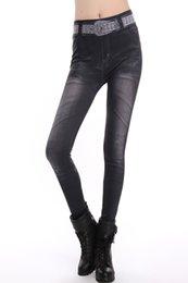 Wholesale New Footless Leggings Punk Fashion Women Clothing Fake Denim Skinny Seamless Look Pants Faux Jeans girl s causal leggings