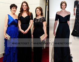 Wholesale 2015 Zuhair Murad Evening Dresses Kate Middleton in Jenny Packham Off Shoulder Short Sleeve A line Navy Blue Tulle Belt Prom Gowns Elegant