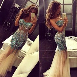 Wholesale Sparkly Artificial Rhinestone Beaded Mermaid Prom Dresses Sweetheart Champagne Tulle Long Teens Evening Dresses ED0004