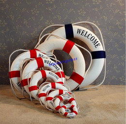 mediterranean style welcome aboard nautical lifebuoy life ring wall hanging home party living room decoration decor - Nautical Party Decorations