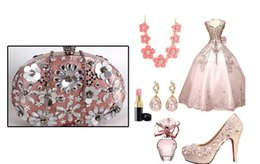 Wholesale Luxurious Sequins Rhinestones Pink Women Evening Bag Bridal Dinner Hand Bag With Chain