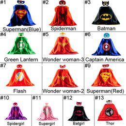 Wholesale L70 W70CM Double Side batman superman cape mask Reversible Superhero Cape supergirl cape mask set