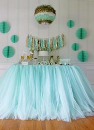 Wholesale 100 cm Mint Green Tulle Table Skirts Wedding Tutu Table Decoration Cheap Creative Baby Showers Custom Made Birthdays Party Decor