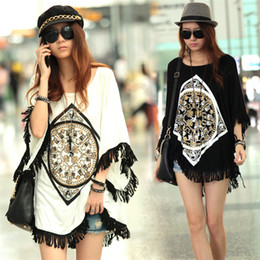 Wholesale Fashion Women s Fringed Loose Short Sleeve Long Batwing Shirt Blouse Casual Plus Size T shirt Tops S XXL White Black
