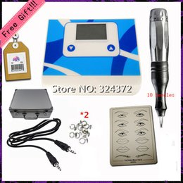 Wholesale 1 Set Complete Tattoo Kit Set Digital permanent makeup machine for eyebrow lip withTattoo pen cartridge needles power supply