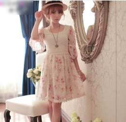 Wholesale For Big Girl Lady Dress Casual Dresses Fashion Half Sleeve Floral Printed Lace Dressy Summer European Women Sweety Clothes J5039
