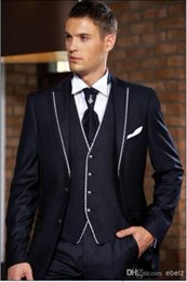 Wholesale Custom Design Two Buttons Navy Blue Groom Tuxedos Notch Lapel Best Man Groomsman Men Wedding Suits Jacket Pants V
