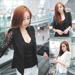Wholesale New Arrival Women Female Long Sleeve Lace Crochet Lapel Blazer Short Jacket Suit Blouse Tops