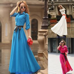 Wholesale 2015 New Summer Beach Long Maxi casual Dress Sexy Long Sleeve Boho Evening Party Dress For Women With Belt