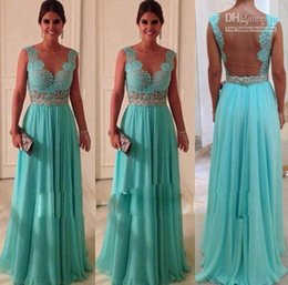 Wholesale A Line Corset Puff Rhinestone Open Back Floor Length Bridesmaid Dresses Prom Dresses Chiffon For Party
