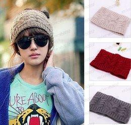 Para mujer caliente del ganchillo Headwrap señoras del invierno del otoño Crochet Gorros de punto de las vendas del pelo accesorios Headwear Head Wraps Turbante Bandanas LLFA48