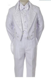 Wholesale White Tailcoat Tuxedos for Boys Double Breasted Notched Lapel Little Mens Suits Special Occasion Children Clothing Jacket Pants Vest bow