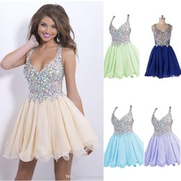 Wholesale 2015 Pretty Homecoming Dresses Sexy Deep V Neck Mini Chiffon Short Crystal Bodice Short Party Prom Dresses Cocktail Dresses