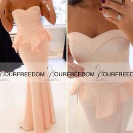 Wholesale 2015 New Fashion Sweetheart Long Evening Dress Peach Formal Gowns Floor Length Ruffles Peplum With Dresses