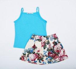 Wholesale los bebés de la ropa al por menor traje de del estilo del verano azul de la liga del chaleco faldas florales niños conjuntos flor vestir de los niños de impresión HX