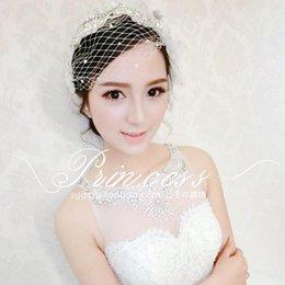 Wholesale 2015 Lace Beads Birdcage Short Face Bridal Veils Wedding Flower Bridal Accessories Wedding Crystal Bridal Headpiece Bride Hair Headpieces