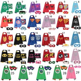 Wholesale kids capes kids Superhero Cape Super hero Ninja Turtles Batman Spiderman Captain America Supergirl kids capes with mask fast shipping