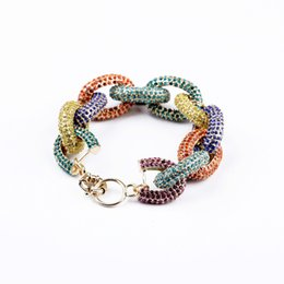 Wholesale Golden Black Silver Colorful colors Diamond Rings Link Chain for Fashion T walk Dresses Accessories Collection Tennis a