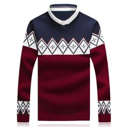 Wholesale 2015 New Arrival Weave Shirt Collar Fake Two Place Men s Autumn Winter Sweaters Full Sleeve Thin Pullovers For Men Slim Fitting Sweater