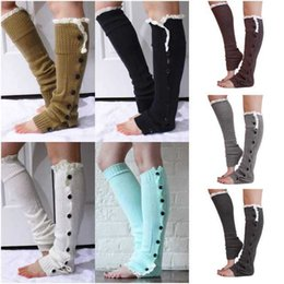 Wholesale High quality Long solid button down Lace Knitted Leg Warmers Boot Stocking Socks Boot Covers Leggings Tight