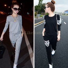 Wholesale 2014 Casual Women Tracksuits Sport Suits Sports Wear For Long Sleeve Sweatshirt and Trousers Casual Pants Set SV07 SV006668