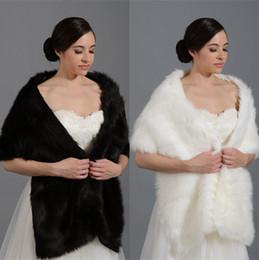 Wholesale Plus Size Cheap Winter Bridal Wraps Shawl Shrugs Faux Fur Boleros Stole Caps Women Mother Bridesmaid Prom Dress Wrap White Ivory Black