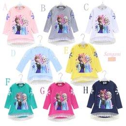 2015 nueva Frozen camisa de manga larga camiseta impresa nieve Romance 2015 otoño de la historieta impresión párrafo encaje de algodón