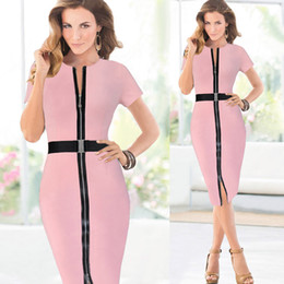 Wholesale 2015 new spring dresses Pink black work brand zipper UK fashion designer slim ladies woman dress office wear woman party clothing XXL