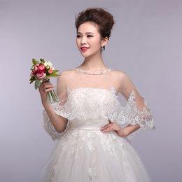 Wholesale Hot Sale White Tulle Bridal Jackets With Crew Neckline Applique Bridal Wrap Wedding Bridal Accessories xy37