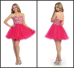 Wholesale Homecoming Dresses Fuchsia Nude Sweetheart Embellished Bodice Corset Short Party Prom Dress Beaded Lace Up Back Tulle Formal Gowns