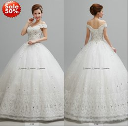Wholesale 2015 Lace Wedding Dresses Bridal Gown With Ball Gown Off Shoulder Beads Crystals Corset Back Floor Length Off The Rack Gown Real Image