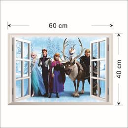 Nueva llegada 45x60cm congelado Snow Queen Elsa princesa Pegatinas de pared Pegatinas de los cabritos de la decoración de la pared del cuarto de habitaciones