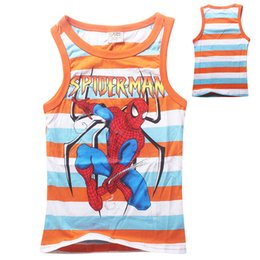 Wholesale 2015 Children tank tops summer baby boys striped vest spiderman cars printed cartoon children Vests kids causal clothes top tees