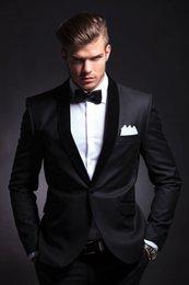Wholesale hot sale groom tuxedo suit wedding groom suits black for wedding dinner custom made suits