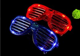Discount party supplies High Quality! LED Light Glasses Flashing Shutters Shape Glasses LED Flash Glasses Sunglasses Dances Party Supplies Festival Decoration