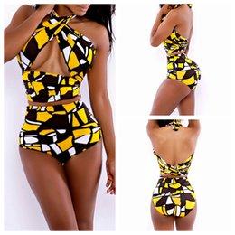 Wholesale F YH7019 Drop New Summer Bandage Swimsuit Sexy Women Bandage Bra Bikini Strap Halter Cartoon Bandage Dress Swimwear