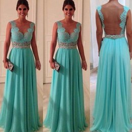 Wholesale 2015 Cheap Backless Prom Desses In Stock Formal Dresses Sheer Neckline Chiffon Lace Evening Dresses Sexy Beaded Waist A Line Ball Gowns