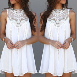 Wholesale Women s Girl s Casual Vintage A Line Dresses Long Top Chiffon Lace Crochet Sleeveless Including S XXL Size ED233