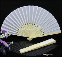 Wholesale 2015 Hot Sale Chinese White Silk Bamboo Hand Fans Terylene Wood handle Wedding Fan Bridal Accessories