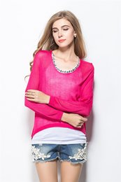 Wholesale Sweater Casual Batwing Ladies see through Knit Two piece set COTTON O NECK LADY PULLOVER W4449