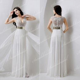 Wholesale 100 Real Image Wedding Dresses V Neck Beading Sheer Back Sash A Line Split Side Long Lace Chiffon Sexy In Stock Bridal Gowns YD001