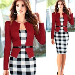 Wholesale 2015 Summer False Two Piece Dresses Long Sleeve Knee Length Plaid Short Party Evening Dresses Office Lady Work Dresses OXL150104