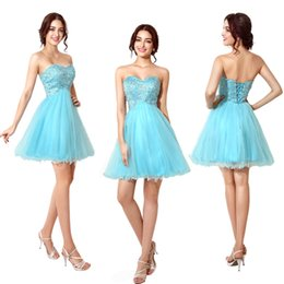 Wholesale Short Pageant Prom Gown Homecoming Party Cocktail Dresses Lace UP In Stock New Sweet heart A Line Beaded Tulle Cheap