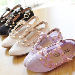 Wholesale 2015 Summer Best Sale Girls Rivit Lace Sandals Hot Fashion Girl Princess Sandals Baby Girls Beautiful Fashion Shoes Kids Lace Sandals