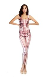 Wholesale Adult Sexy Bodysuit Elastic Dancer Women Digital Human skeleton Nightclub Locomotive Halloween Cosplay Costumes CSX05
