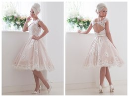 Wholesale Short Beach Wedding Dresses Knee Length Bateau Neckline Cap Sleeves Lace Appliques Bridal Gowns Covered Button House Of Mooshki Leonora