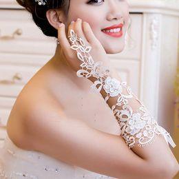 Wholesale WHITE LACE WEDDING BRIDAL BRIDES FINGERLESS SEQUIN RHINESTONE ELBOW GLOVES